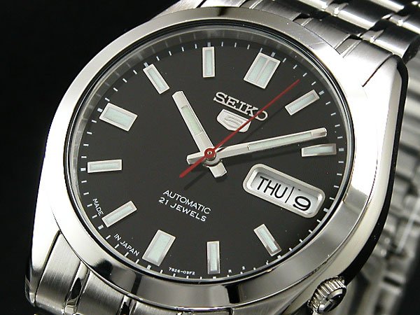 SEIKO 5 セイコー5 逆輸入 日本製 自動巻き メンズ 腕時計 SNKE87J1 メンズ ブラック×シルバー メタルベルト-1