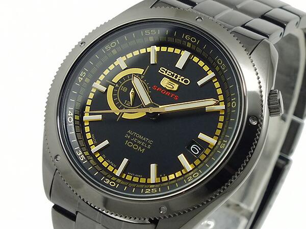 SEIKO 5 SPORTS スポーツ 逆輸入 自動巻き 日本製 メンズ 腕時計 SSA071J1 ブラック×ゴールド メタルベルト-1