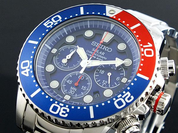 セイコー SEIKO ソーラー クロノグラフ ダイバーズ メンズ 腕時計 SSC019P1 ブルー×シルバー メタルベルト-1