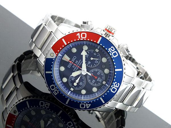 セイコー SEIKO ソーラー クロノグラフ ダイバーズ メンズ 腕時計 SSC019P1 ブルー×シルバー メタルベルト-2