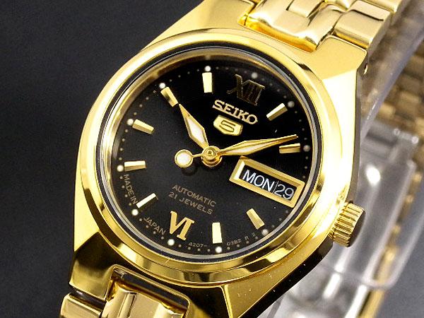 SEIKO 5 セイコー5 海外モデル 日本製 レディース 自動巻き 腕時計 SYMA14J1 ブラック×ゴールド メタルベルト ブレスレット-1