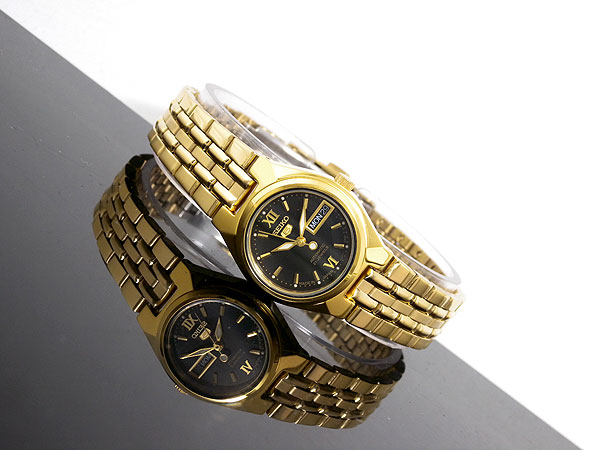 SEIKO 5 セイコー5 海外モデル 日本製 レディース 自動巻き 腕時計 SYMA14J1 ブラック×ゴールド メタルベルト ブレスレット-2