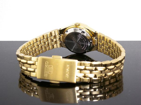 SEIKO 5 セイコー5 海外モデル 日本製 レディース 自動巻き 腕時計 SYMA14J1 ブラック×ゴールド メタルベルト ブレスレット-3