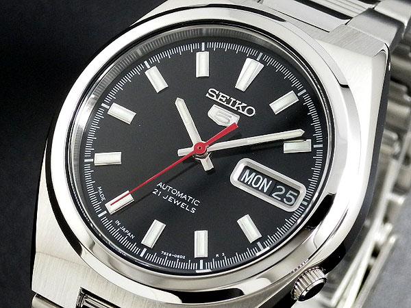 SEIKO 5 セイコー5 逆輸入 日本製 自動巻き メンズ 腕時計 SNKC55J1 ブラック×シルバー メタルベルト-1