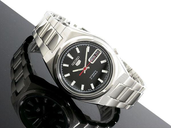 SEIKO 5 セイコー5 逆輸入 日本製 自動巻き メンズ 腕時計 SNKC55J1 ブラック×シルバー メタルベルト-2