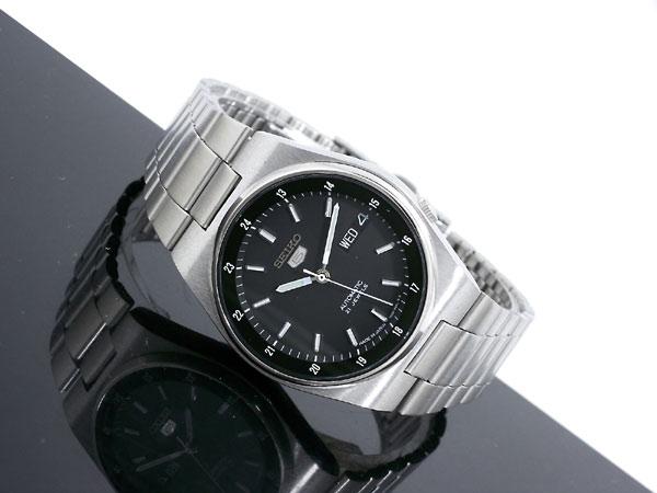 SEIKO 5 セイコー5 逆輸入 日本製 自動巻き メンズ 腕時計 SNXM19J5 ブラック×シルバー メタルベルト-2