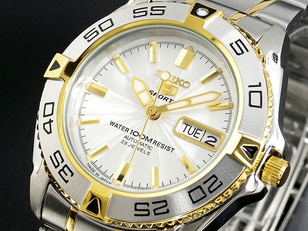 セイコー SEIKO 5 SPORTS 逆輸入 日本製 自動巻き メンズ 腕時計 SNZB24J1 シルバー×ゴールド メタルベルト -1