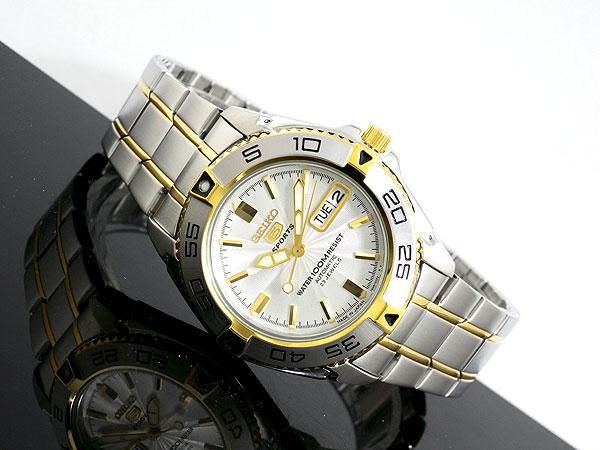 セイコー SEIKO 5 SPORTS 逆輸入 日本製 自動巻き メンズ 腕時計 SNZB24J1 シルバー×ゴールド メタルベルト -2