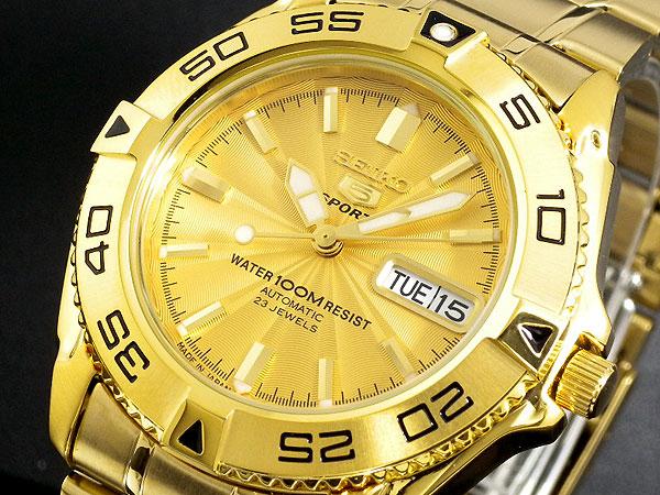 セイコー SEIKO セイコー5 スポーツ 5 SPORTS 日本製 自動巻き 腕時計 SNZB26J1 メンズ ゴールド メタルベルト-1