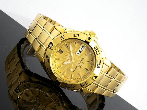 セイコー SEIKO セイコー5 スポーツ 5 SPORTS 日本製 自動巻き 腕時計 SNZB26J1 メンズ ゴールド メタルベルト-2