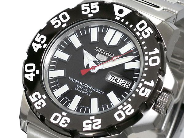 セイコー 5 SEIKO 5 SPORTS 逆輸入 日本製 自動巻き メンズ 腕時計 SNZF51J1 ブラック×シルバー メタルベルト-1