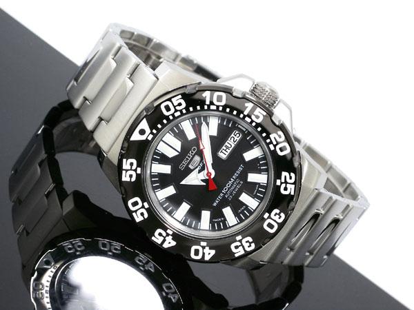 セイコー 5 SEIKO 5 SPORTS 逆輸入 日本製 自動巻き メンズ 腕時計 SNZF51J1 ブラック×シルバー メタルベルト-2