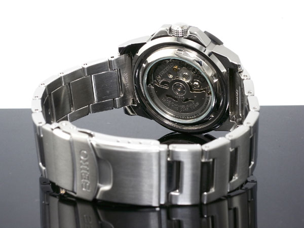 セイコー 5 SEIKO 5 SPORTS 逆輸入 日本製 自動巻き メンズ 腕時計 SNZF51J1 ブラック×シルバー メタルベルト-3