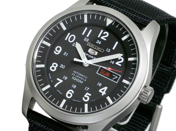 セイコー SEIKO 5 SPORTS スポーツ 逆輸入 日本製 自動巻き メンズ 腕時計 SNZG15J1 ブラック ナイロンベルト-1