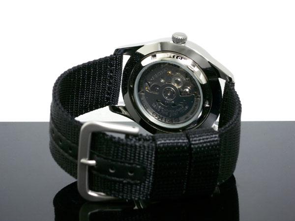 セイコー SEIKO 5 SPORTS スポーツ 逆輸入 日本製 自動巻き メンズ 腕時計 SNZG15J1 ブラック ナイロンベルト-3