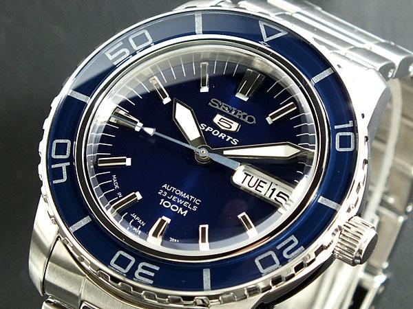 セイコー SEIKO 5 SPORTS 逆輸入 日本製 自動巻き メンズ 腕時計 SNZH53J1 ブルー×シルバー メタルベルト-1