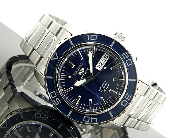 セイコー SEIKO 5 SPORTS 逆輸入 日本製 自動巻き メンズ 腕時計 SNZH53J1 ブルー×シルバー メタルベルト-2
