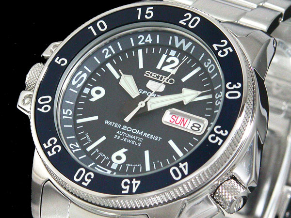 SEIKO 5 SPORTS ダイバーズ 自動巻き 日本製 メンズ 腕時計 アトラス SKZ209J1 ブルー×シルバー メタルベルト-1