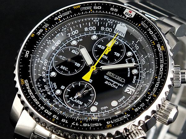 セイコー SEIKO 逆輸入 腕時計 パイロット アラーム クロノグラフ SNA411P1 メンズ ブラック×シルバー メタルベルト-1