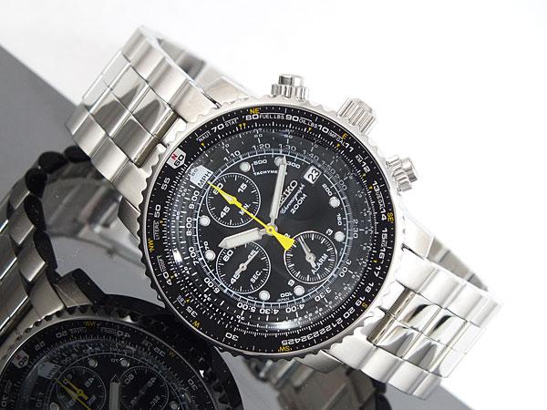 セイコー SEIKO 逆輸入 腕時計 パイロット アラーム クロノグラフ SNA411P1 メンズ ブラック×シルバー メタルベルト-2