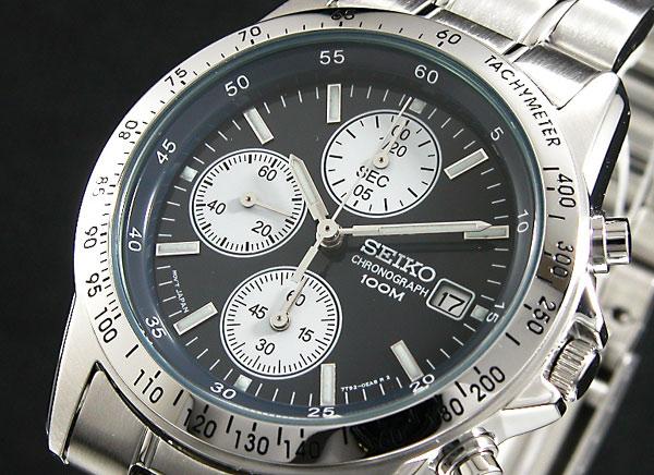 セイコー SEIKO 逆輸入 クロノグラフ メンズ 腕時計 SND365 ネイビーブルー×シルバー メタルベルト-1