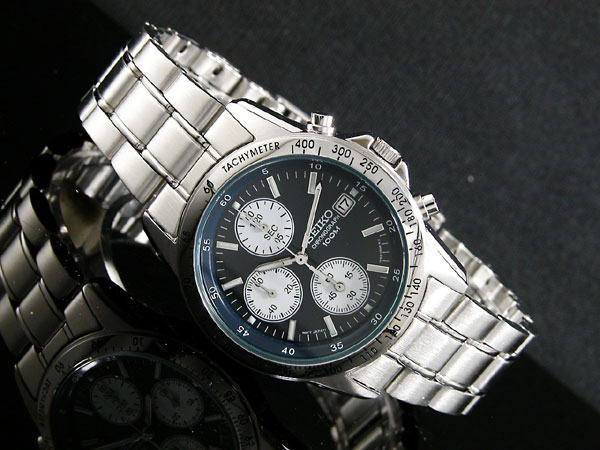 セイコー SEIKO 逆輸入 クロノグラフ メンズ 腕時計 SND365 ネイビーブルー×シルバー メタルベルト-2