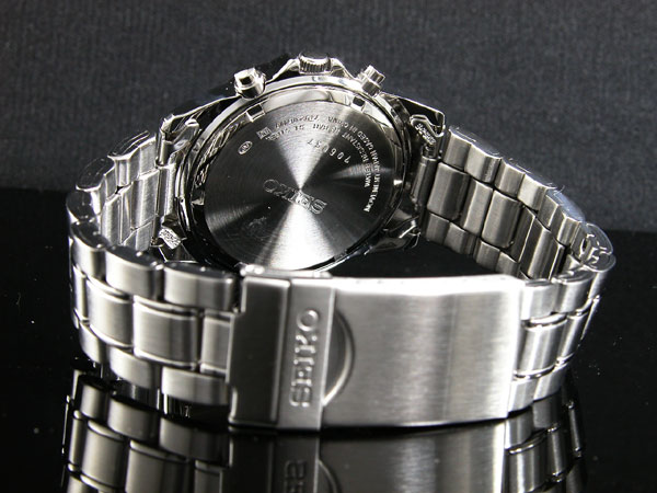 セイコー SEIKO 逆輸入 クロノグラフ メンズ 腕時計 SND365 ネイビーブルー×シルバー メタルベルト-3