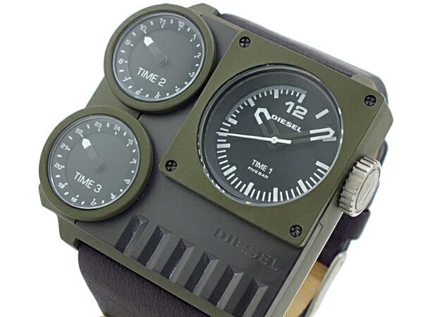 ディーゼル DIESEL トリプルタイム スクエア ブラックレザー 腕時計 DZ7248 メンズ カーキ-1