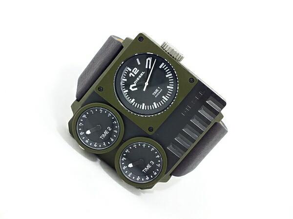 ディーゼル DIESEL トリプルタイム スクエア ブラックレザー 腕時計 DZ7248 メンズ カーキ-2