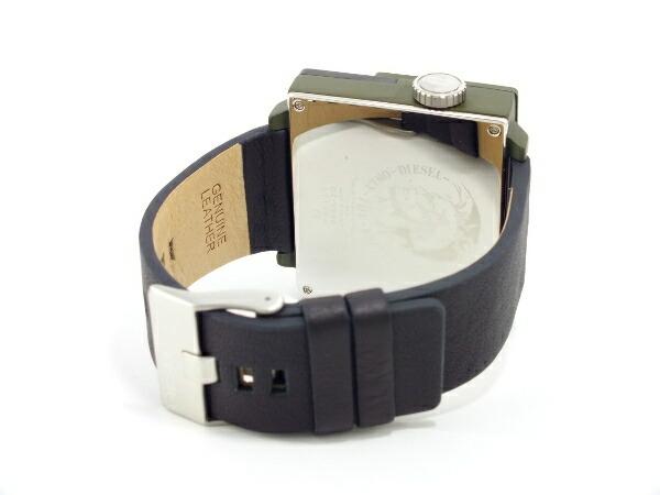 ディーゼル DIESEL トリプルタイム スクエア ブラックレザー 腕時計 DZ7248 メンズ カーキ-3