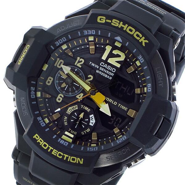 カシオ Gショック スカイコックピット クオーツ メンズ 腕時計 GA-1100GB-1A ブラック-1