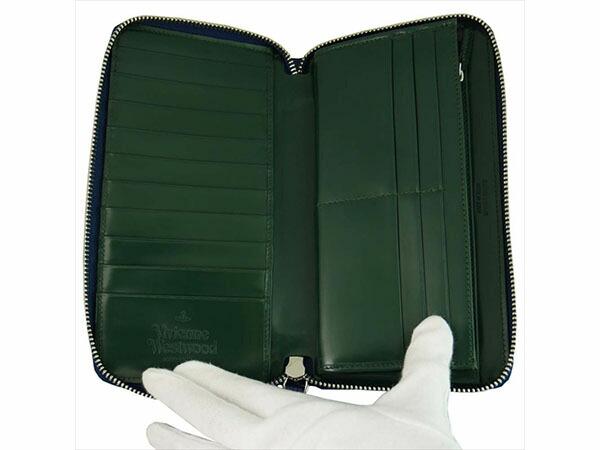 ヴィヴィアン ウエストウッド Vivienne Westwood 長財布 メンズ 33.350 ブルー/グリーン-2