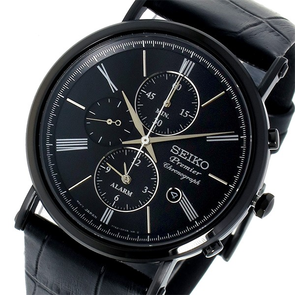 セイコー SEIKO プルミエ Premier クロノグラフ クオーツ メンズ 腕時計 SNAF79P1 ブラック-1