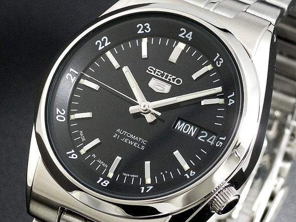 SEIKO 5 セイコー5 逆輸入 日本製 自動巻き メンズ 腕時計 SNK567J1 ブラック×シルバー メタルベルト-1