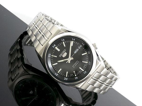 SEIKO 5 セイコー5 逆輸入 日本製 自動巻き メンズ 腕時計 SNK567J1 ブラック×シルバー メタルベルト-2