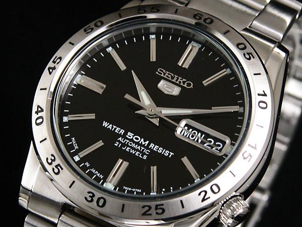 SEIKO 5 セイコー5 逆輸入 日本製 自動巻き メンズ 腕時計 SNKE01J1 ブラック×シルバー メタルベルト-1
