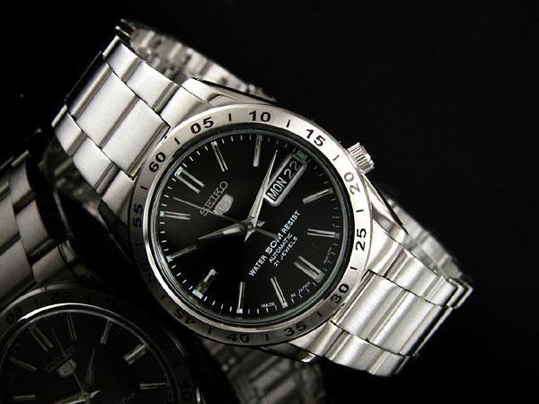 SEIKO 5 セイコー5 逆輸入 日本製 自動巻き メンズ 腕時計 SNKE01J1 ブラック×シルバー メタルベルト-2