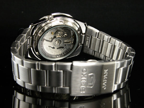 SEIKO 5 セイコー5 逆輸入 日本製 自動巻き メンズ 腕時計 SNKE01J1 ブラック×シルバー メタルベルト-3
