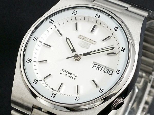 SEIKO 5 セイコー5 逆輸入 日本製 自動巻き メンズ 腕時計 SNXM17J5 ホワイト×シルバー メタルベルト-1