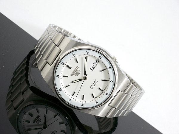 SEIKO 5 セイコー5 逆輸入 日本製 自動巻き メンズ 腕時計 SNXM17J5 ホワイト×シルバー メタルベルト-2
