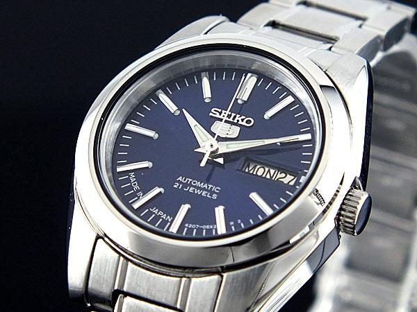 SEIKO 5 セイコー5 海外モデル 日本製 レディース 自動巻き 腕時計 SYMK15J1 ネイビー×シルバー メタルベルト ブレスレット-1