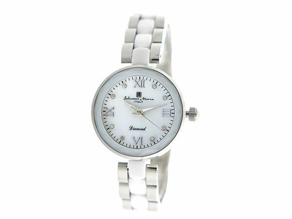 サルバトーレマーラ SALVATORE MARRA クオーツ レディース 腕時計 SM17153-SSWHR ホワイトシェル-2