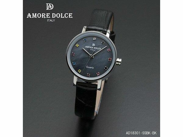 アモーレ ドルチェ レディース 腕時計 AD18301-SSBKBK レザーベルト ブラック-1
