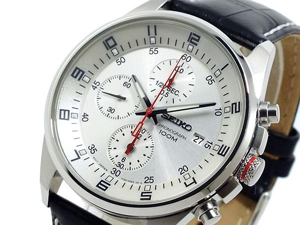 セイコー SEIKO 逆輸入 クロノグラフ メンズ 腕時計 SNDC87P2 シルバーホワイト×ブラック レザーベルト-1