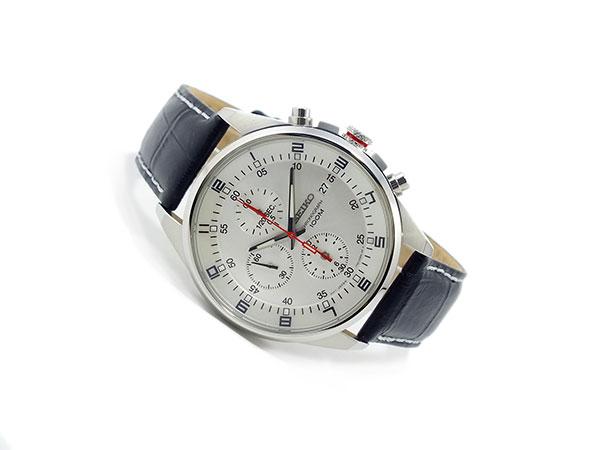 セイコー SEIKO 逆輸入 クロノグラフ メンズ 腕時計 SNDC87P2 シルバーホワイト×ブラック レザーベルト-2