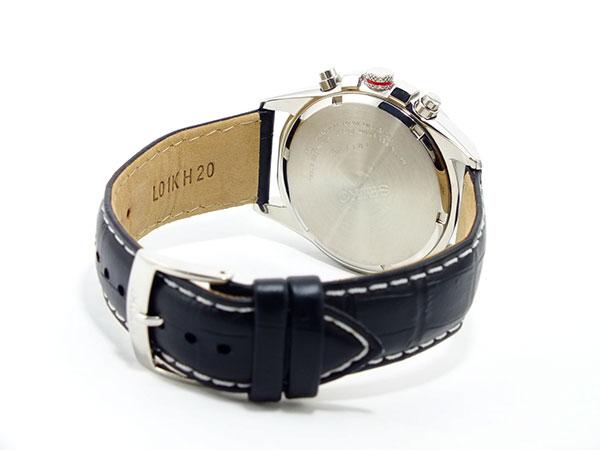 セイコー SEIKO 逆輸入 クロノグラフ メンズ 腕時計 SNDC87P2 シルバーホワイト×ブラック レザーベルト-3