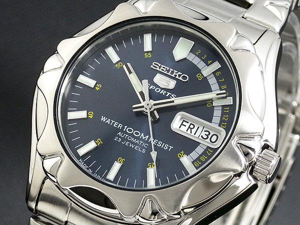 セイコー SEIKO 5 SPORTS 海外モデル 日本製 自動巻き メンズ 腕時計 SNZ447J1 ブルー×シルバー メタルベルト-1