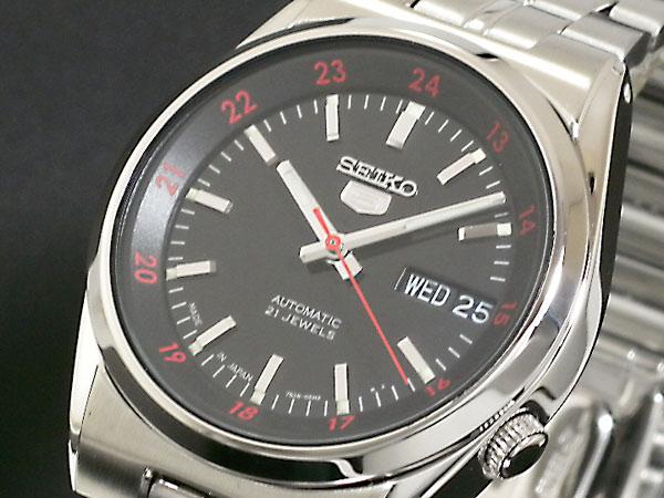 SEIKO 5 セイコー5 逆輸入 日本製 自動巻き メンズ 腕時計 SNK569J1 ブラック×シルバー メタルベルト-1