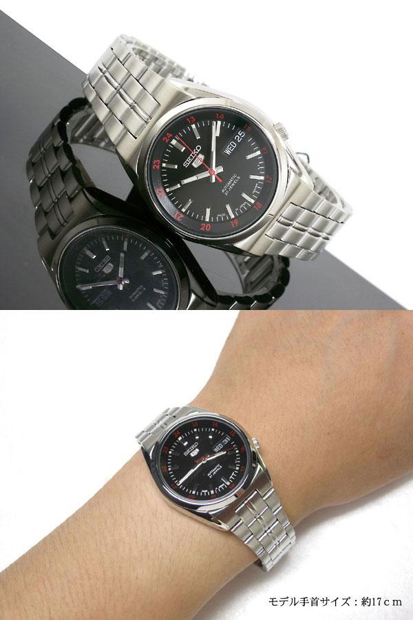SEIKO 5 セイコー5 逆輸入 日本製 自動巻き メンズ 腕時計 SNK569J1 ブラック×シルバー メタルベルト-2