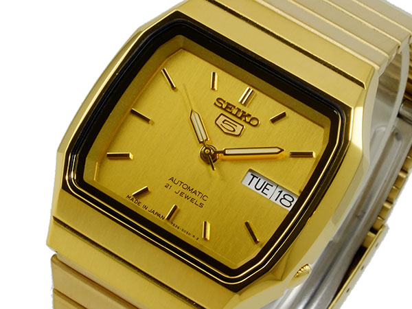 SEIKO 5 セイコー5 逆輸入 日本製 自動巻き メンズ 腕時計 SNXK90J1 ゴールド メタルベルト-1
